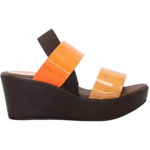 Rapi 9287 patent wedge sandals in orange