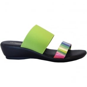 Rapi 9312 low wedge elasticated slip on sndals in green