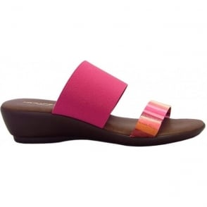 Rapi 9312 low wedge elasticated slip on sndals in pink