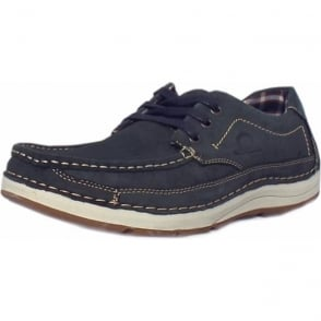 Rubble Men's Lace-up Boat Shoes in Navy