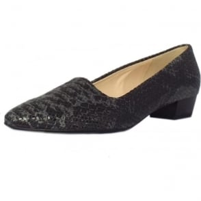 Lisana Pointed Toe low heel courts in Carbon Textile