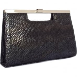 Wye Women's Evening Clutch Bag In Black Snake Print Leather