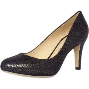Pascale Women's Court Shoe in Black Snake Print Leather