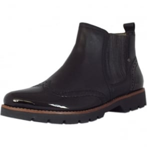 Cambridge Brogue Style Wide Fit Ankle Boots in Black Leather