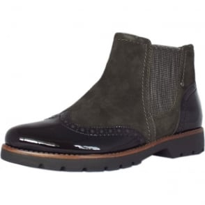 Cambridge Brogue Style Wide Fit Ankle Boots in Graphite