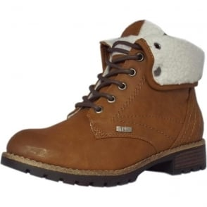 Sturgis Fleece Lined Wide Fit Ankle Boots in Brown