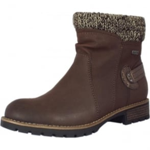 Fosse Fashion Fleece Lined Ankle Boots in Mocca