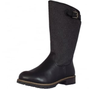 Le Havre Fashion Fleece Lined Long Boots in Black and Grey Textile