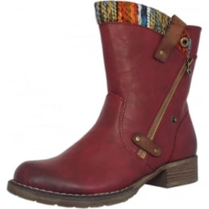 Budapest Fleece Lined Boots in Vino with Multi-colour trim