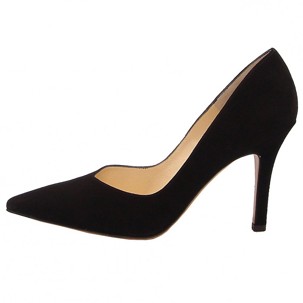 dione classic pointed toe high heel court shoes in black suede
