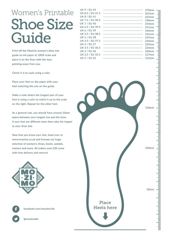 image about Printable Shoe Size Chart Women's identify Printable Shoe Measurement Books Mozimo