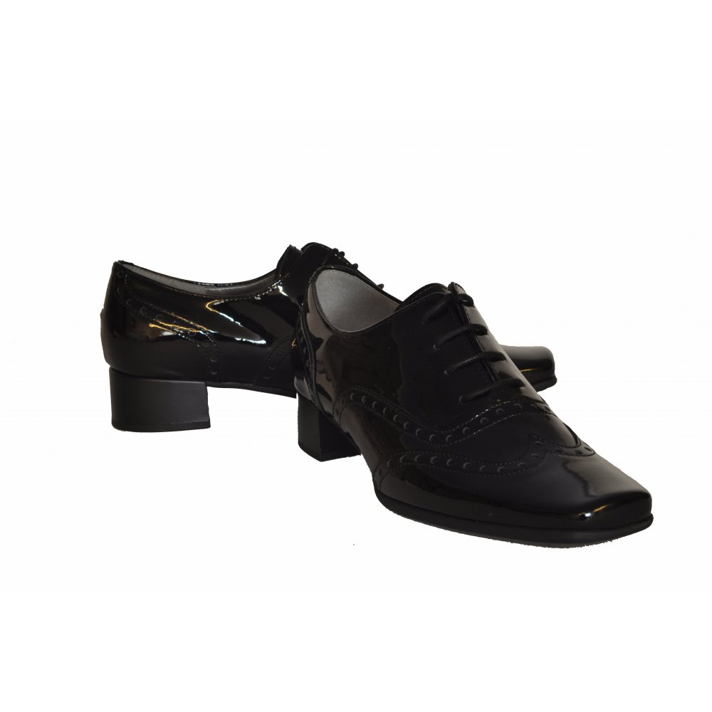 gabor olga s lace up shoe in black patent