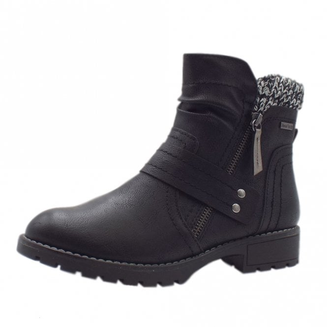 26420 Canberra Biker Style Wide Fit JanaTex Boots in Black
