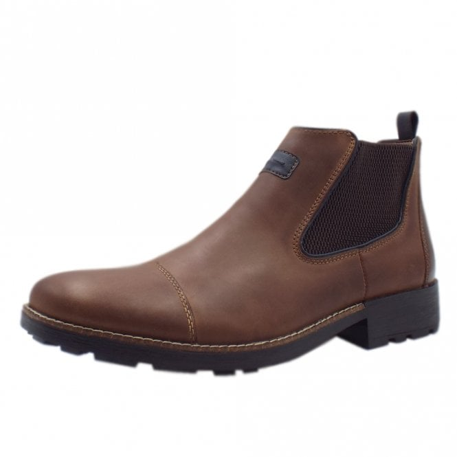 Rieker 36063-25 Luther Men's Winter Pull On Chelsea Boots in Brown