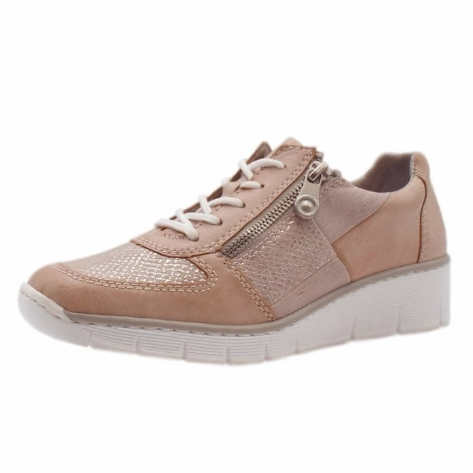 Rieker 53714-31 Yetta Smart Casual Lace-Up Trainers In Rose