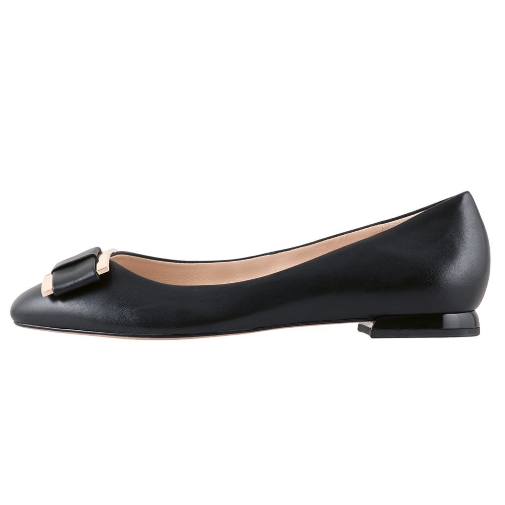 77741696c Hogl | Harmony Womens Ballet Pumps in Black Leather | Mozimo