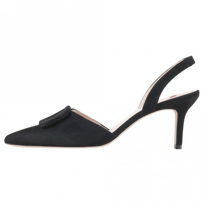 Högl 7-10 6732 Mia Stylish Pointed Toe Slingback Shoes in Black Suede