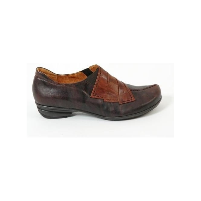 gabor two tone leather shoe in brown from mozimo