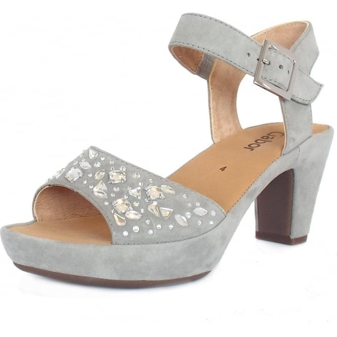 705b587cdf9d Abe Women  039 s Dress Block Heel Sandals in Grey Suede
