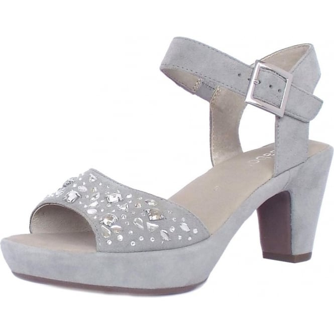 6a1b7700a2c2 Abe Women  039 s Dressy Block Heel Sandals in Grey Suede