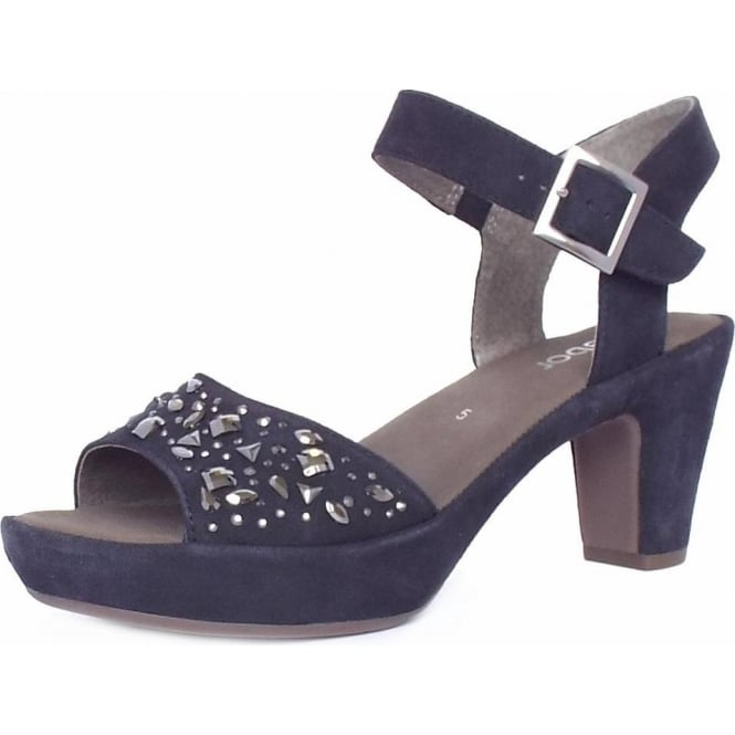 e89b44eafe4 Abe Women  039 s Dressy Block Heel Sandals in Navy Suede