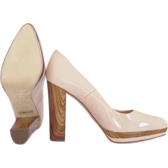 72cb0889cc6 Adelheid Women  039 s Trendy Wooden Heel Court Shoes in Powder Patent