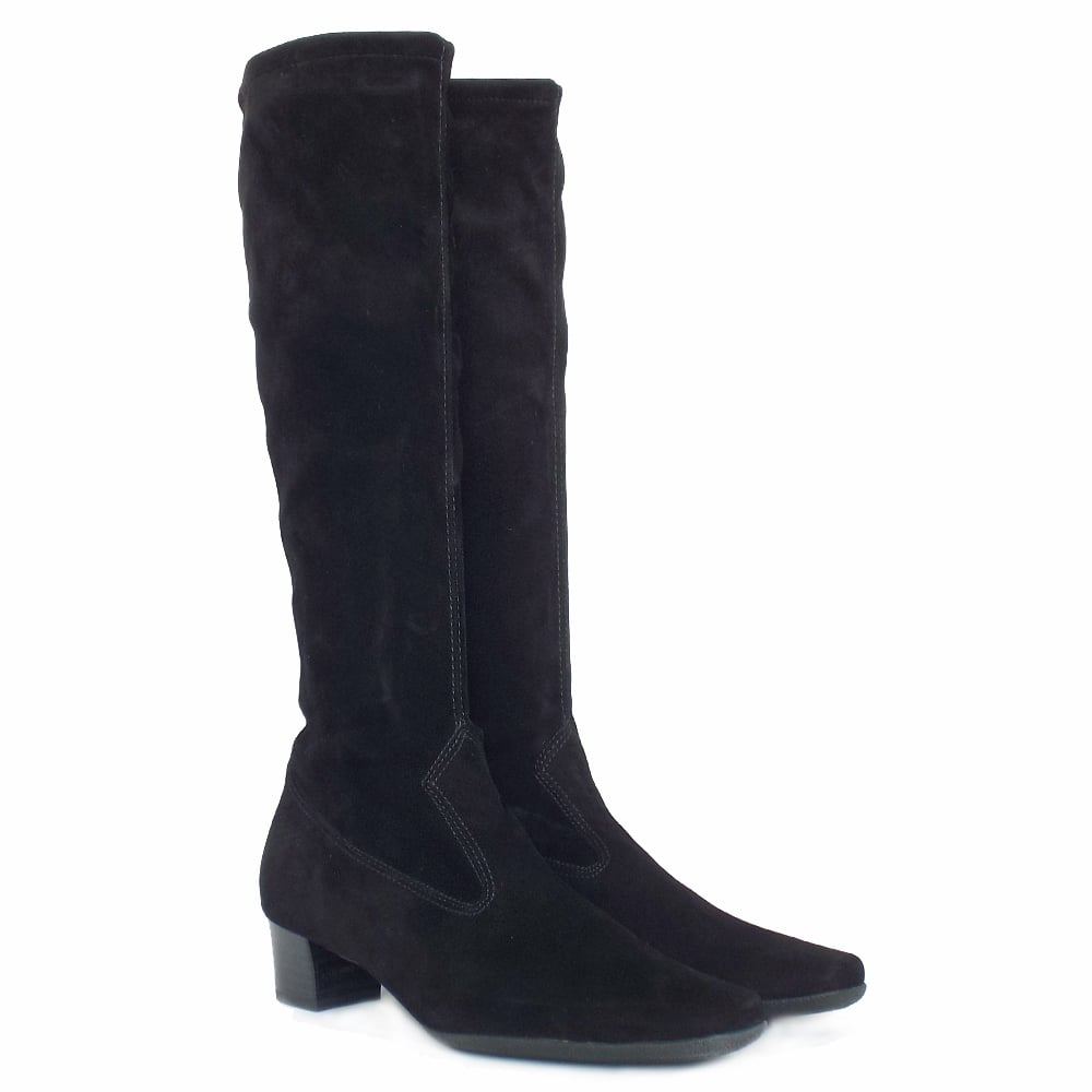 kaiser aila pull on black stretch suede boots