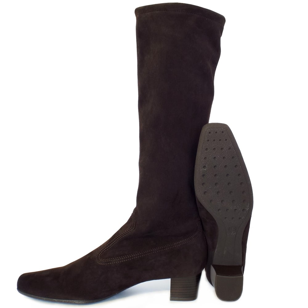 kaiser aila pull on brown stretch suede boots