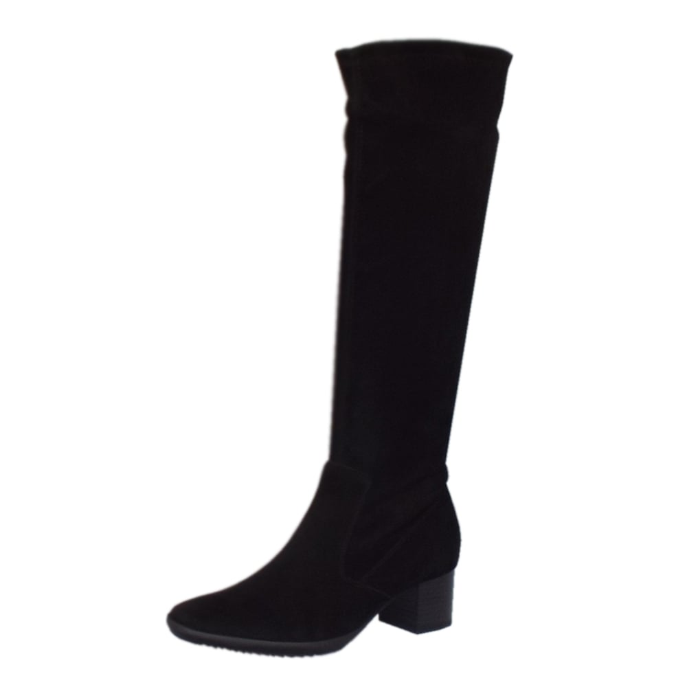 kaiser ailo pull on black stretch suede boots