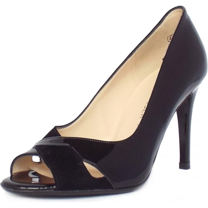 Alda Women  039 s High Heel Peep Toe Shoes in Black Patent and Suede b27d54dbd