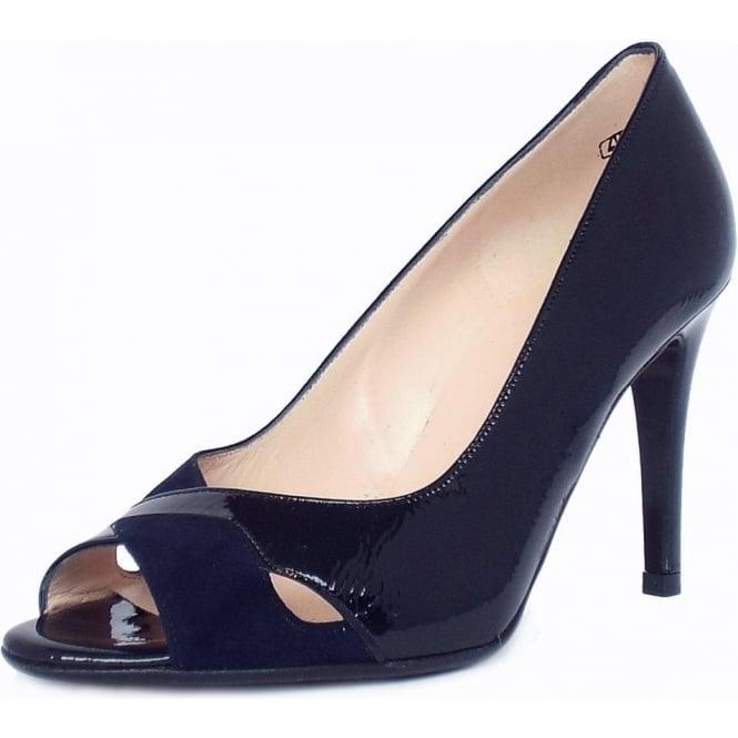huge discount 2ec4d 3abf8 Peter Kaiser Alda Women's High Heel Peep Toe Shoes in Navy Patent and Suede  Mix