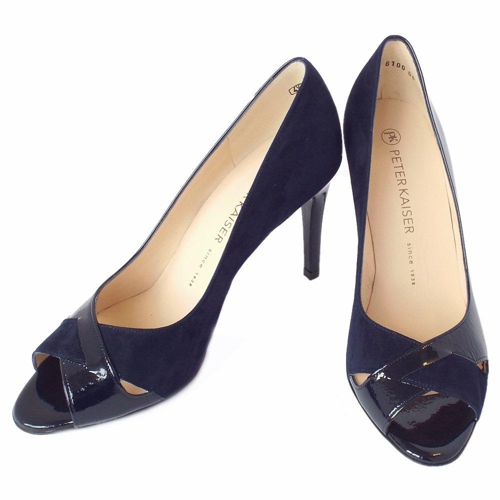 peter kaiser alda women 39 s dressy high heel peep toe shoes in navy. Black Bedroom Furniture Sets. Home Design Ideas