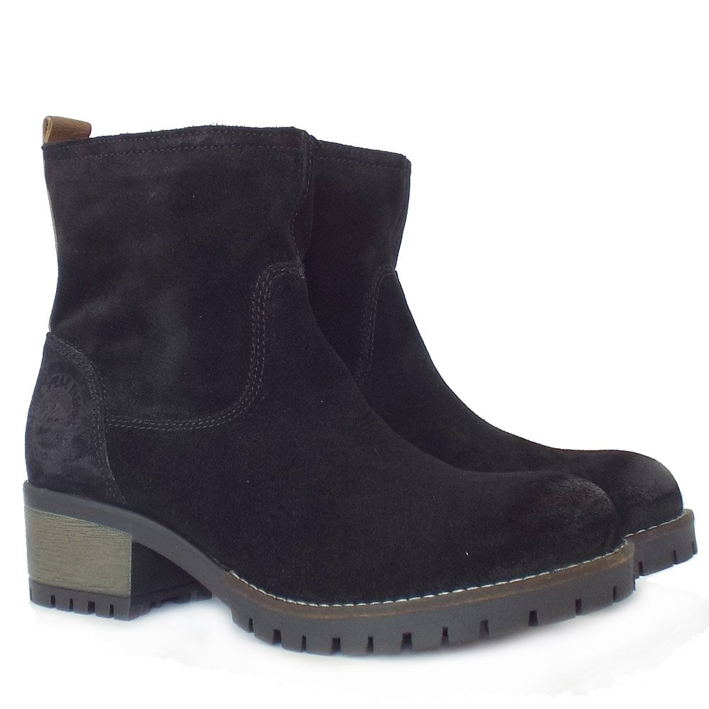 s oliver alexa women 39 s casual urban chic short boots in black suede. Black Bedroom Furniture Sets. Home Design Ideas