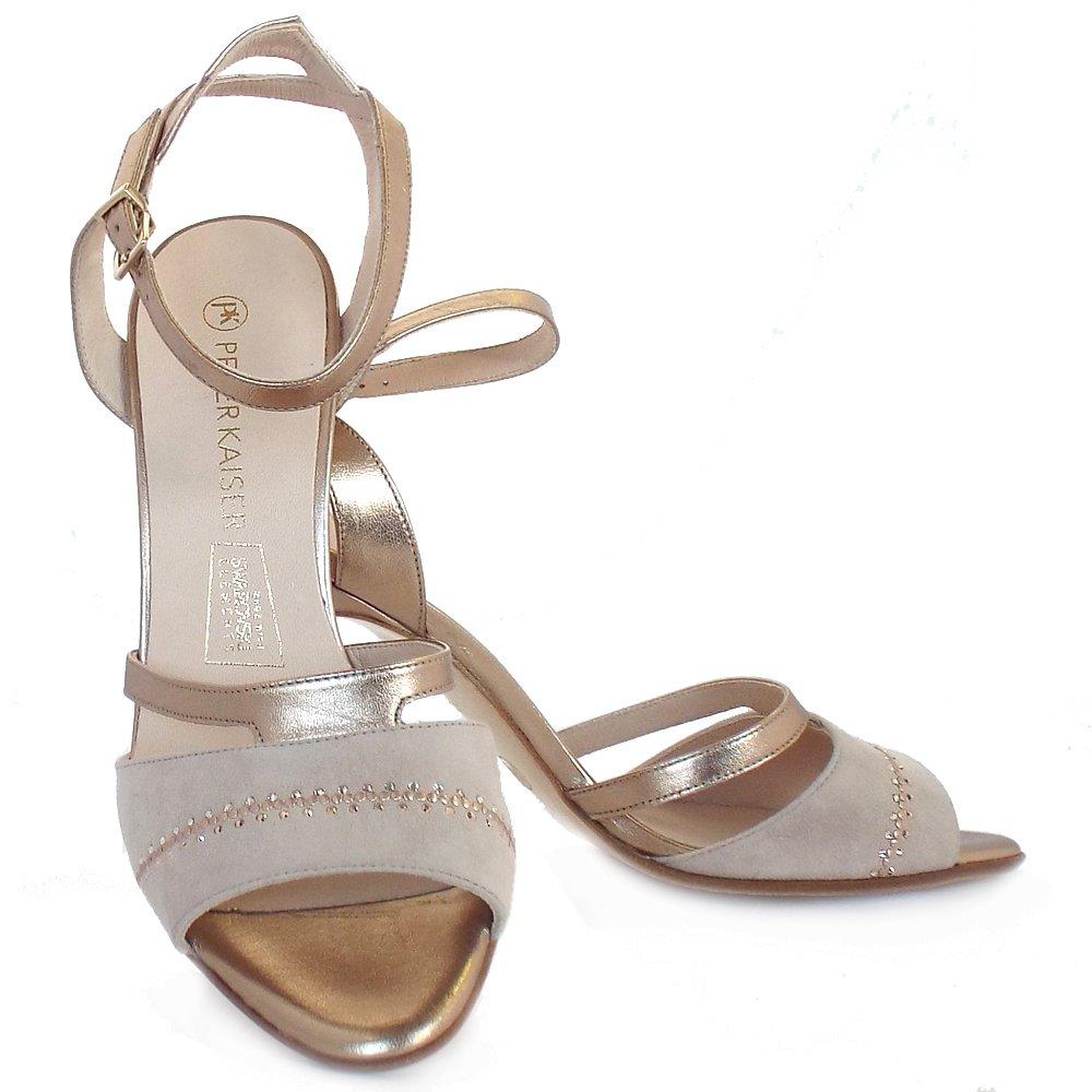Peter Kaiser Amiga  Dressy High Heel Sandals in Nude and Metallic