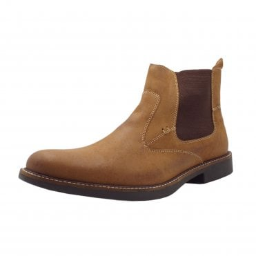 Garibaldi Classic Mens Pull-on Nubuck Chelsea Boot in Light Tan