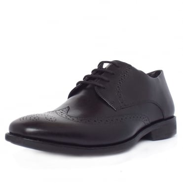 Mococa Men's Brogue Shoes in Black Leather