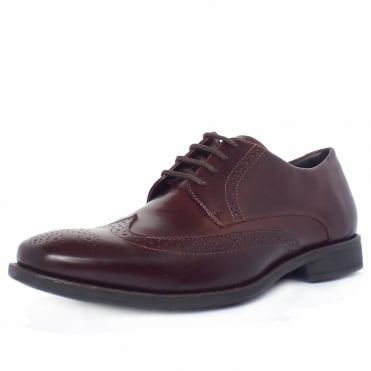 Mococa Men's Brogue Shoes in Burgundy Cafe Leather