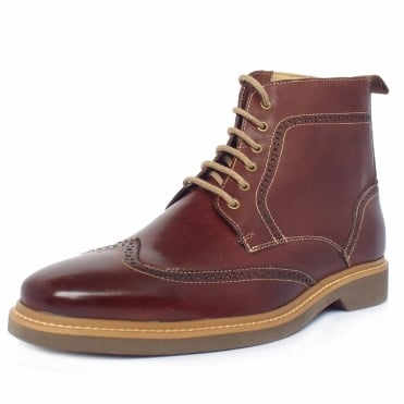 Nova Men's Lace-Up Brogue Boots in Coffee Leather