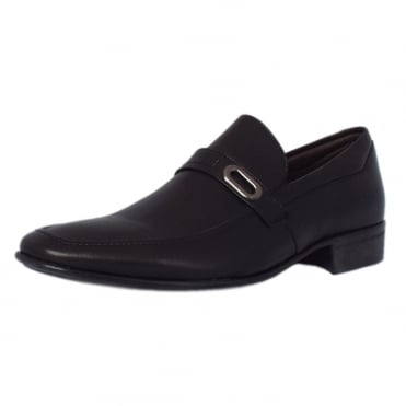 Sergipe Mens Slip On Shoes in Black Leather