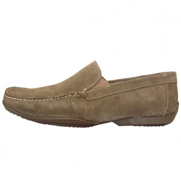Tavares men's casual loafer in taupe suede