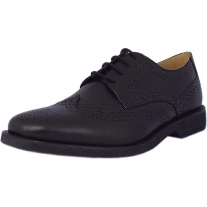 Tucano Mens Brogue Shoes in Black Leather