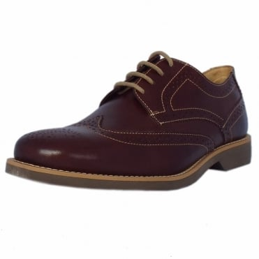 Tucano Mens Brogue Shoes in Chestnut Leather