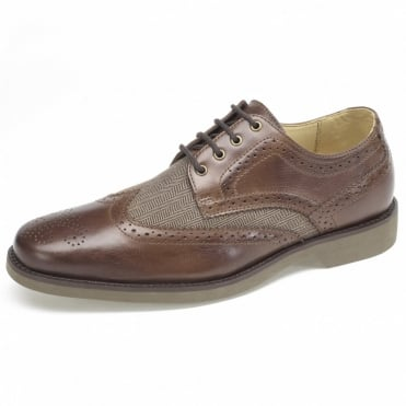Tucano Mens Leather and Herringbone Brogues in Brown