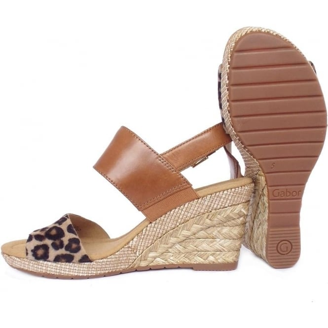 81e2d86ee0db Anna Women's Fashion Mid Wedge Sandals in Tan and Leoprad Print Leather