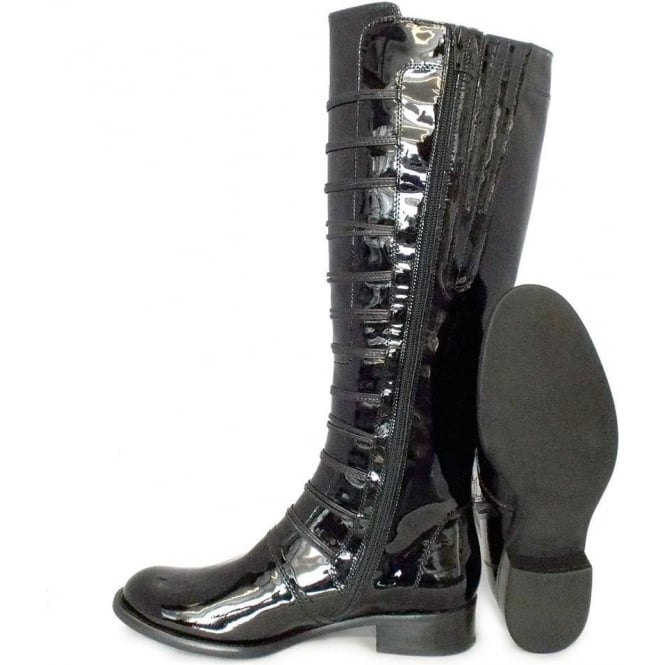 price reduced many fashionable factory authentic Gabor Argyll Ladies Long Boot In Black Patent
