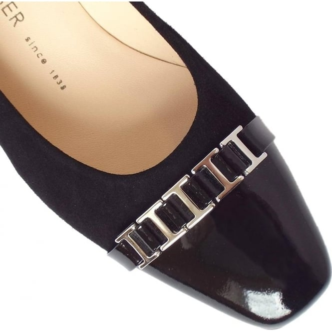 542d64bf4975 Arla Women  039 s Low Heel Court Shoes in Black Suede and Patent