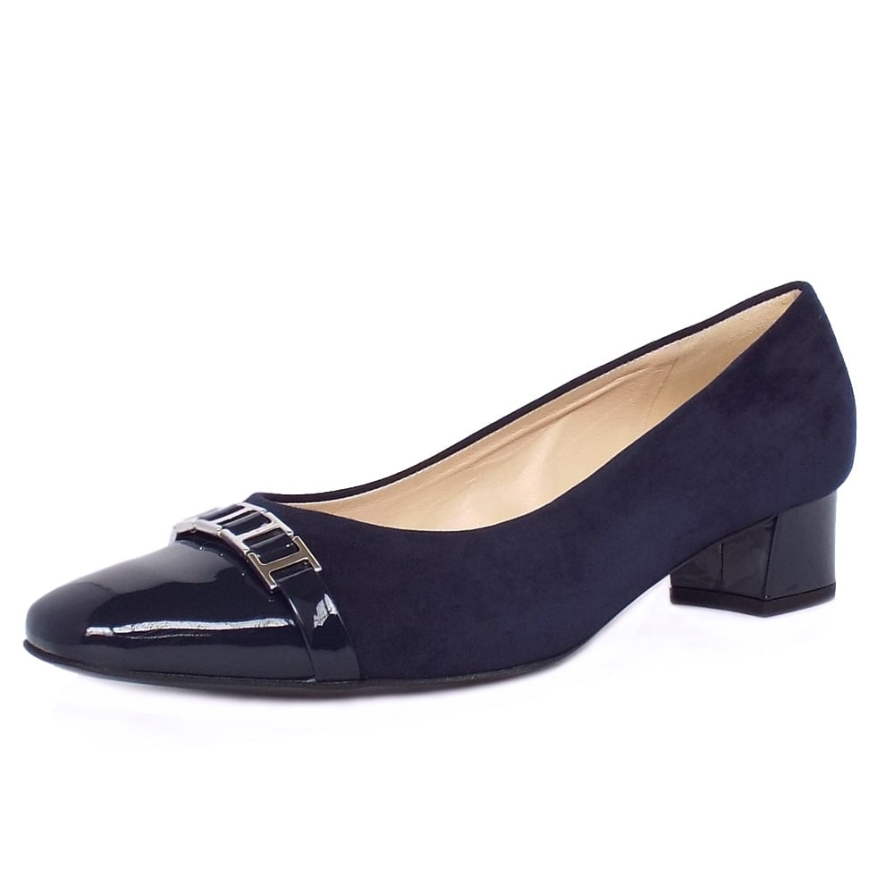 Navy Blue Suede Court Shoes