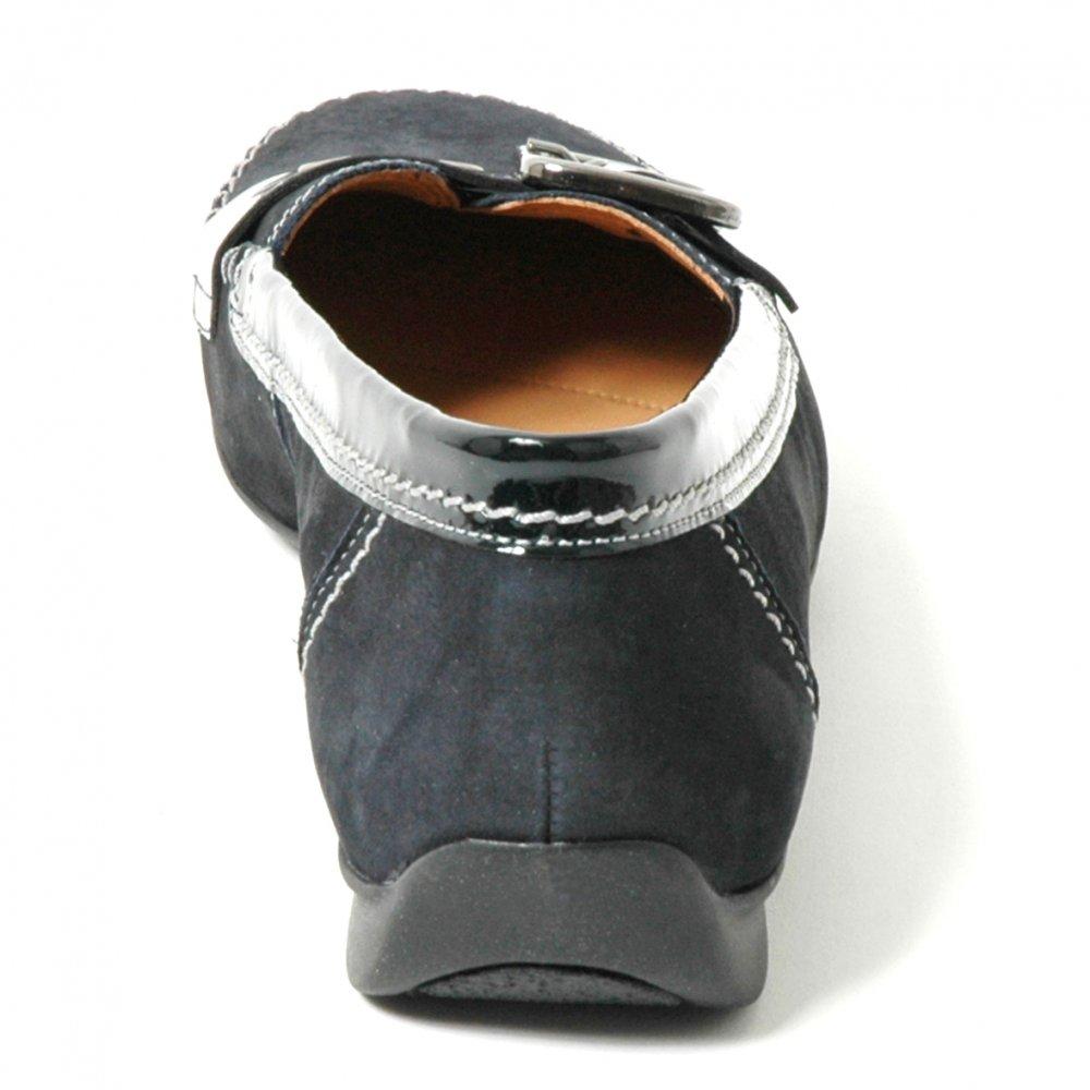 Ascari Wide Fit Pump Shoe In Navy Blue