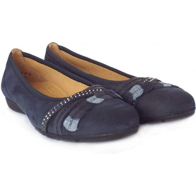 41dcdc00f6182 Gabor Ashmill   Modern Comfortable Ballet Pumps in Navy Nubuck Leather