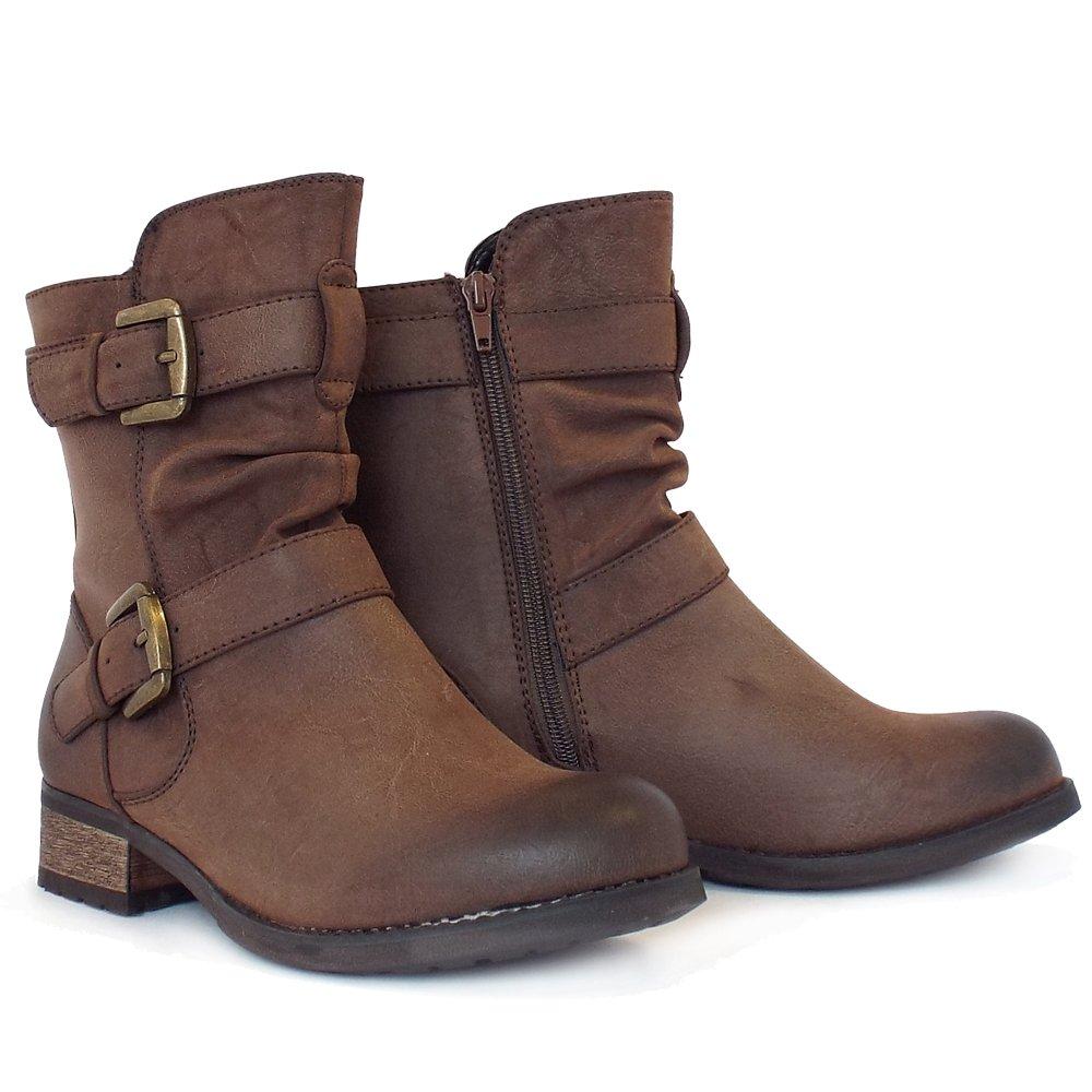 Lotus Avon | Low Block Heel Biker Boots In Brown